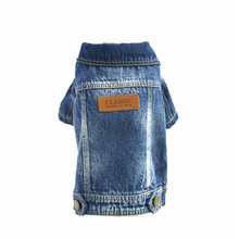 Newest dog jacket pet dog clothes for pet products cartoon printing dog jeans clothing for chihuahua