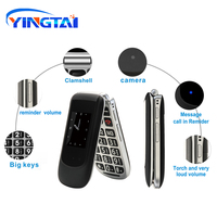 cell phone screen YINGTAI T09 Best feature phone GSM Big push-button flip phone Dual Screen clamshell 2.4 inch Elder telephone cell phones FM MP3 (4)