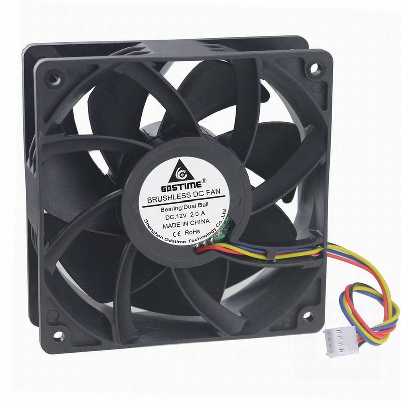 1 Piece Gdstime 12cm Four Wires 4Pin FG PWM 120*120*38mm DC 12V Dual Ball PC Cooling Fan 120mm x 25mm Big Cooler 12038B 2A original papst typ 4650n ac 230v 12cm 120mm 120 120 38mm cae axial cooling fan