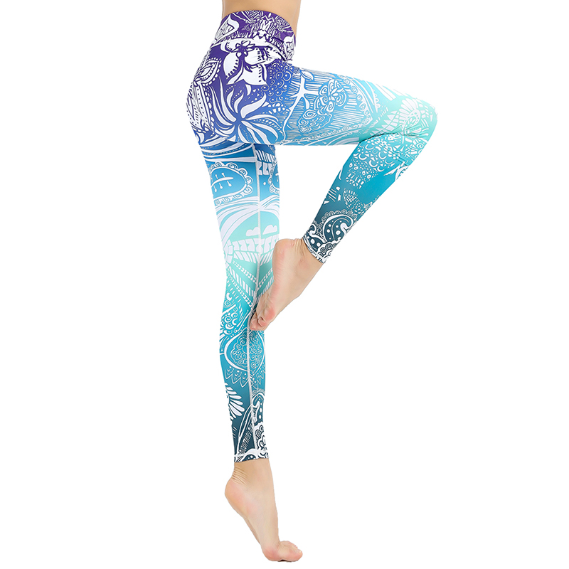 WIILII Women Legging Mandala Flower Print Workout Pants Sexy High Waist Push Up Legins Woman Pants Stretch Leggings Plus Size