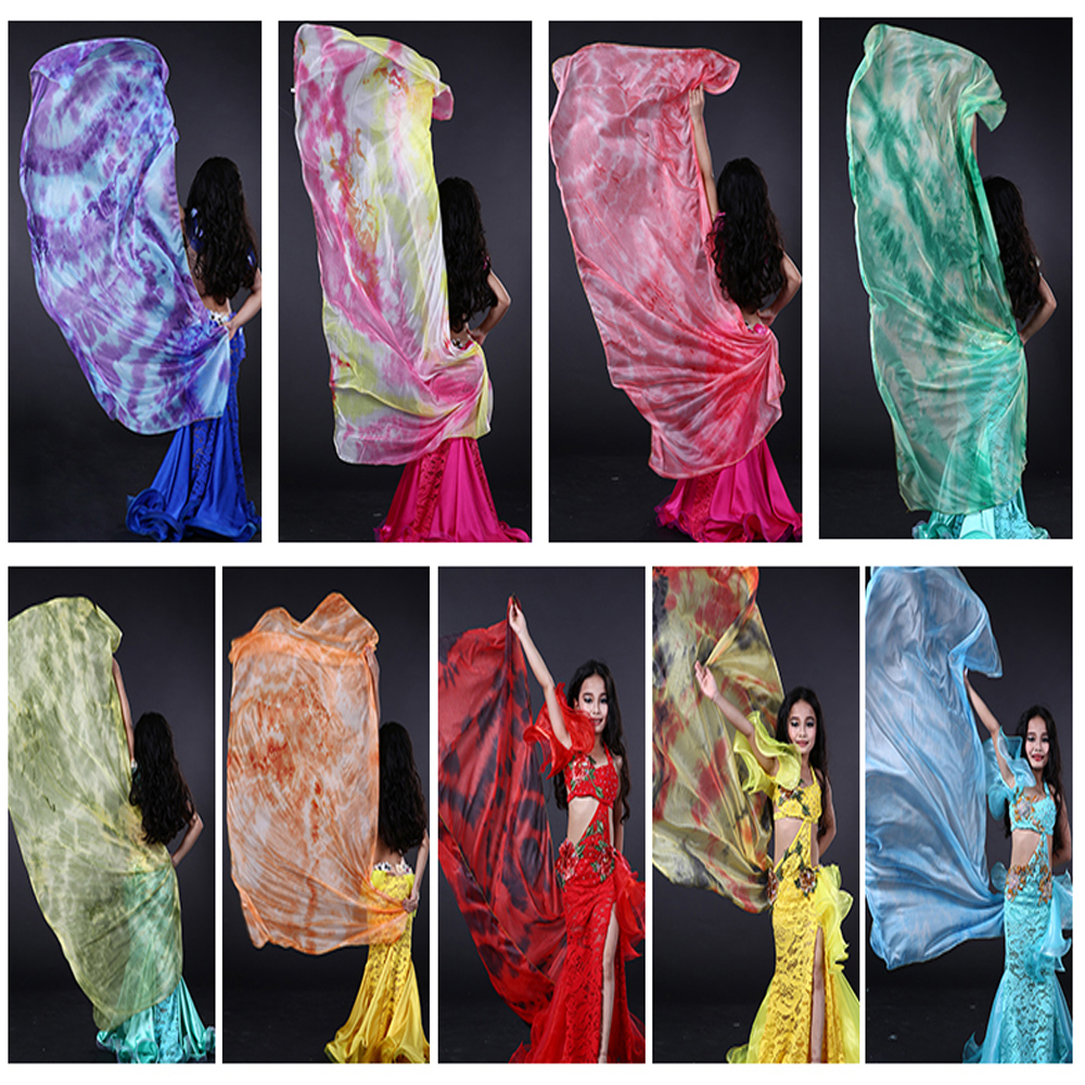 NEW Kids/Children Tie-dyed Imitation Silk Veils For Belly Dancing  Colorful Nice Kids Shawl Hand-Scarf  Veil 9 Colors