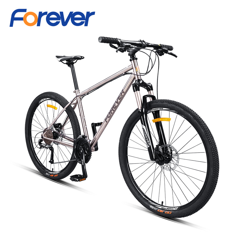 FOREVER Mountain Bike 27.5in Chrome-molybdenum Steel Road Bicycle Double Disc Brake Lightweight Positioning Flywheel MTB 27speed