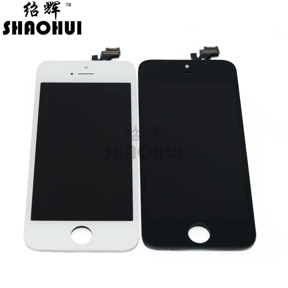 ФОТО SHAOHUI A quanlity LCD Display Digitizer For iPhone 5 5G Touch Screen Digitizer Assembly with camera ring freeshipping