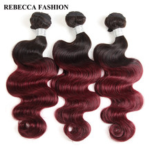 Rebecca Peruvian Body Wave 10 To 30 Inch Bundles Ombre Hair 3 Bundles Deals 1b/99j Red Color Remy Human Hair Extensions(China)