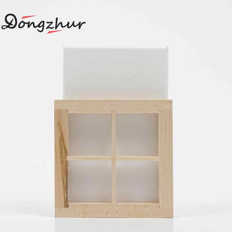 Dollhouse Miniatures 1:12 Accessories Furniture Mini Window Model 4 Grid Wooden Windows DIY Wooden Doll House Kit Toy WWP7490