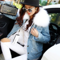 Ladies Real Fur Parka Women  Denim Jacket Winter Natural fox fur Lining Parka Coat Real Raccoon Fur Collar Jacket Women