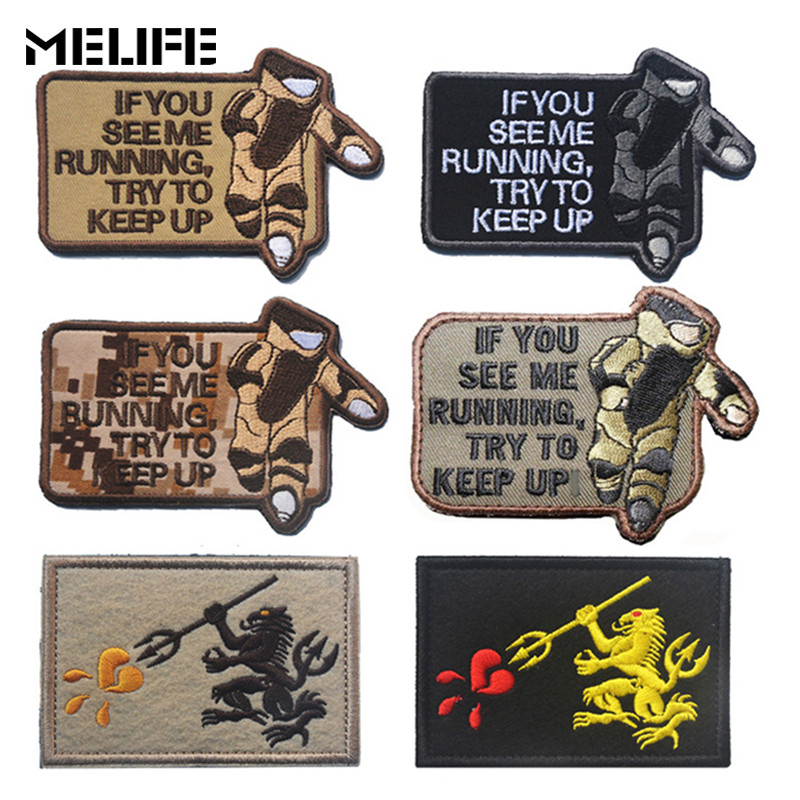 Black Sports Souvenirs Military Patch Bomb Squad EOD Patch If You See Me Running Try To Keep Up Tactical Morale Patches Badges