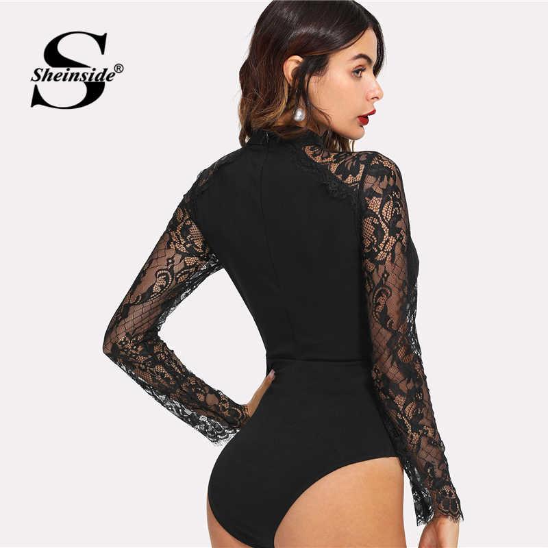 0e1d5c7bef ... Sheinside Black Tie Neck Lace Panel Sleeve Bodysuit Women Skinny Mid  Waist Zipper Bodysuit Office Ladies ...