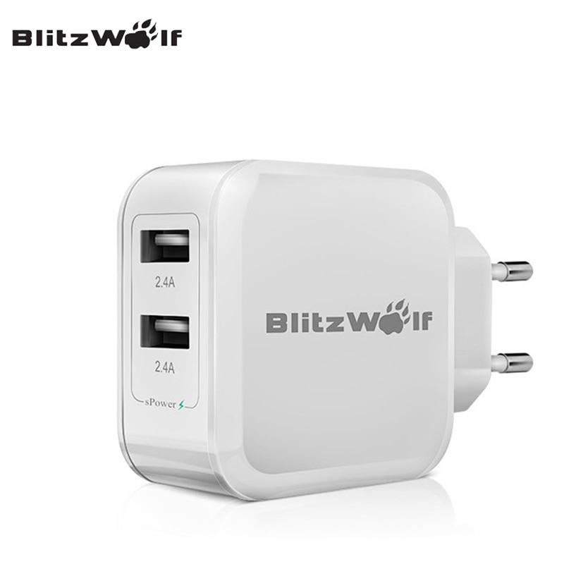 BlitzWolf BW-S2 4.8A 24W Travel Wall Dual USB Phone s