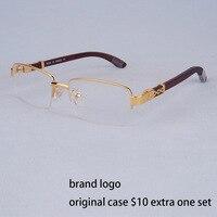 Vazrobe Wood Glasses Frame Men Gold Eyeglasses Man Luxury Brand Prescription Spectacles Eyeglass Wooden leg Rimless Half Full