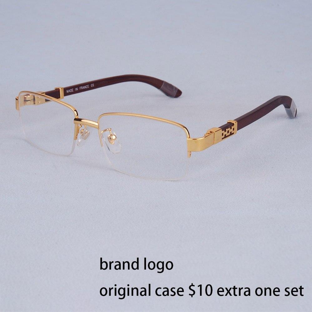 Vazrobe bois lunettes cadre hommes or lunettes homme de luxe marque Prescription lunettes lunettes en bois jambe sans monture demi plein