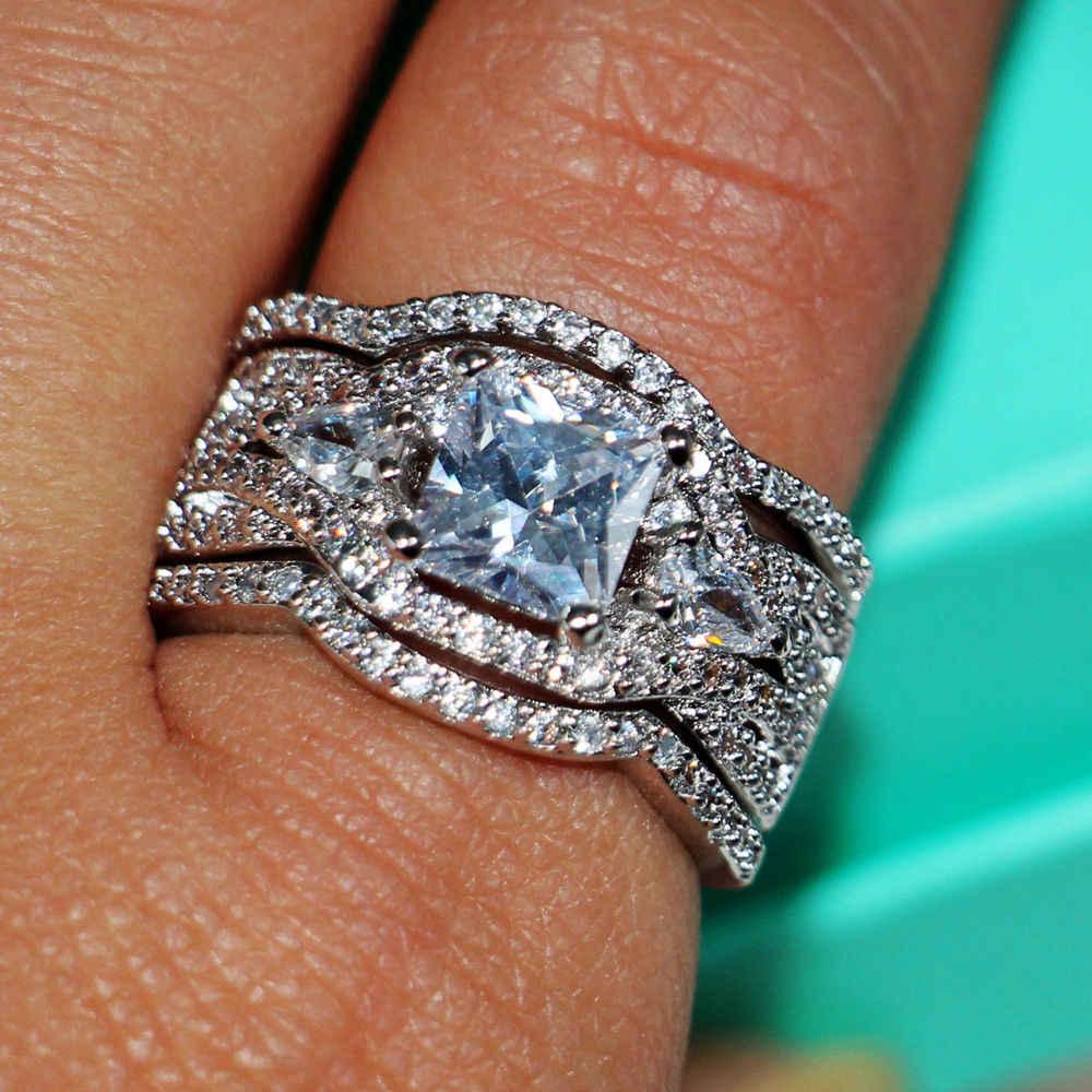 ขนาด 5-10 เครื่องประดับ 7mm AAA CZ 10Kt สีขาวทอง 3 ใน 1 หินจำลองงานแต่งงานแหวนหมั้นผู้หญิงชุดเจ้าสาวของขวัญ
