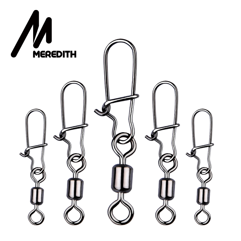 MEREDITH 50pcs lot Fishing Connector Pin Bearing Rolling Swivel Stainless Steel with Snap Fishhook Lure Swivels