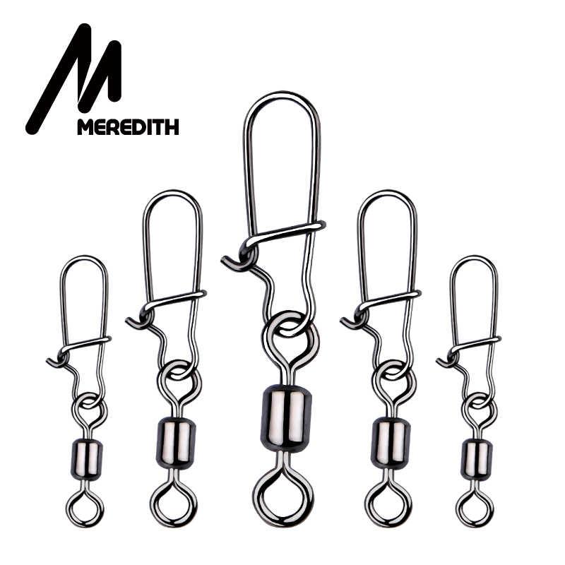 メレディス 50 ピース/ロット釣りコネクタピンベアリングローリングスイベルステンレス鋼スナップ釣り針ルアータックル