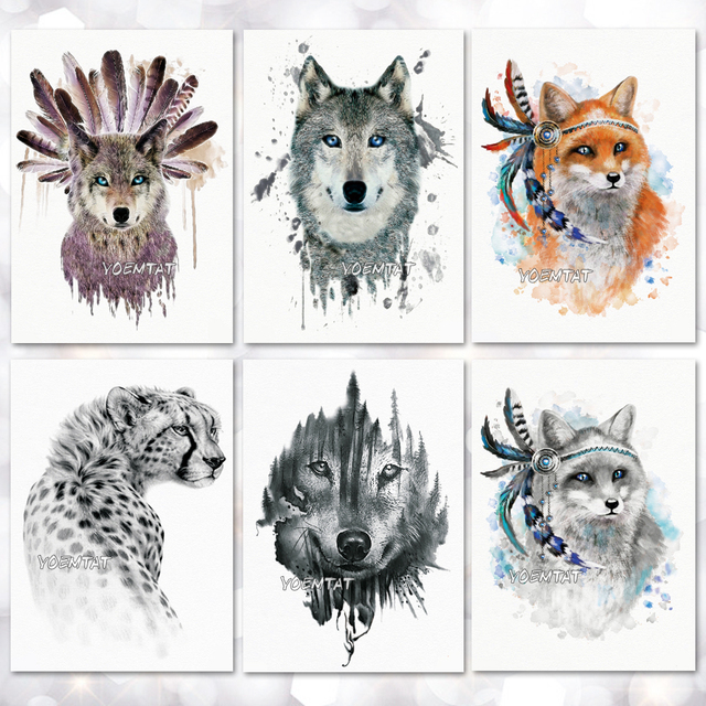 a29dcabc7 Fox Wolf Leopard Pattern Temporary Tattoo Stickers Waterproof Women Fake  Hand Tattoos Adult Men Body Art