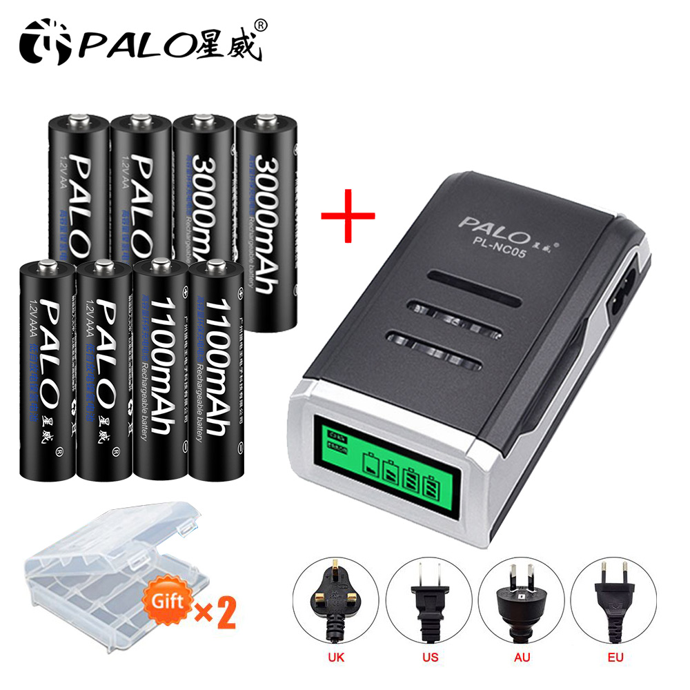 PALO 4PCS 1.2V NI-MH AA rechargeable battery + aaa Batteries+LCD display smart charger for AAA