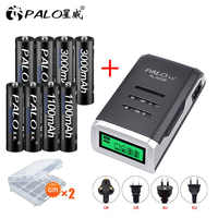 PALO 4PCS 1.2V NI-MH AA rechargeable battery + 4PCS 1.2V aaa rechargeable Batteries+LCD display smart battery charger for AA AAA