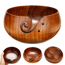 14-16CM Handmade Wood Yarn Bowl Knitting Storage Crochet Knitter Holder