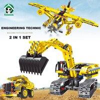 Technic PANDADOMIK Inżynierii Koparka Ciężarówka Samolot 2w1 Robot Zabawki Edukacyjne Klocki Budowlane Cegły Kompatybilny