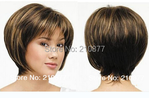Celebrity Hairstyle Cherish mixed color short straight Bob Style Synthetic Hair Wigs with bangs