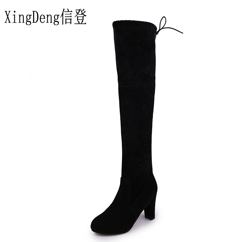 XingDeng Ladies Party Nubuck Thin Heel Spring Autumn Motorcycle Boots Shoes Strench Fabric European High Heels Long Boots Shoes