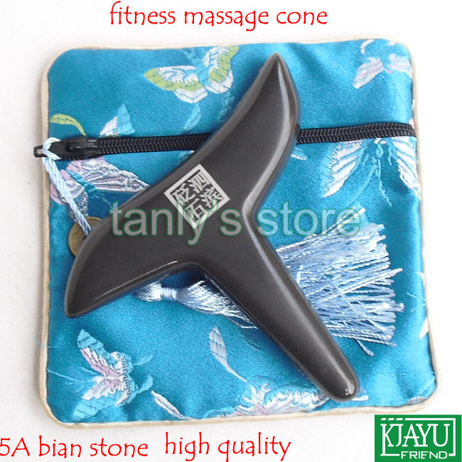 Free shipping! Wholesale & Retail Traditional Acupuncture Beauty face Natural 5A Bian-stone Fitness Guasha Massage Cone free shipping 2pcsset traditional