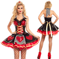 2018 high quality sexy Queen of Hearts costume deluxe cosplay costume with crown and petticoat Helloween Party fancy dress