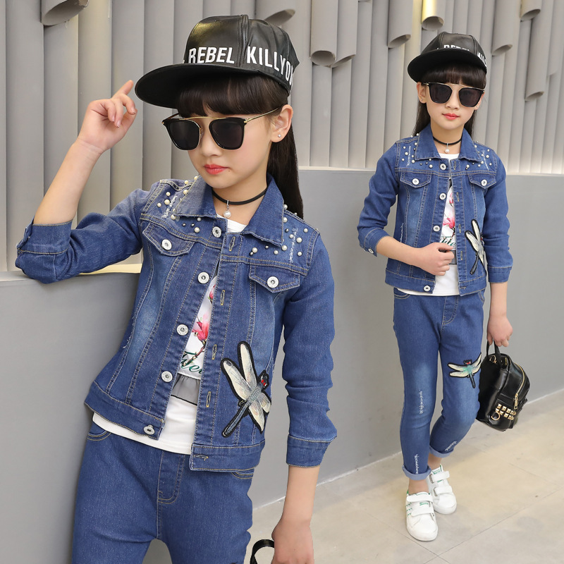girl clothes 2019 new girls denim suit spring and autumn girls casual denim suit two piece suit children sets in Clothing Sets from Mother Kids