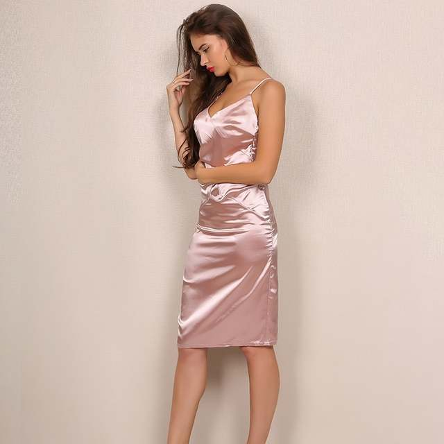 Yissang Elegant V Neck Ladies Knee Length Midi Dress Pink Cross Backless  Satin Womens Dress Summer b7c19114bd35