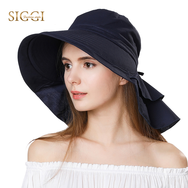 717269ddb88 FANCET Womens Summer Beach Sun Hats Cotton Ponytail Packable Foldable  Windproof Cord Wide Brim Hat Girl