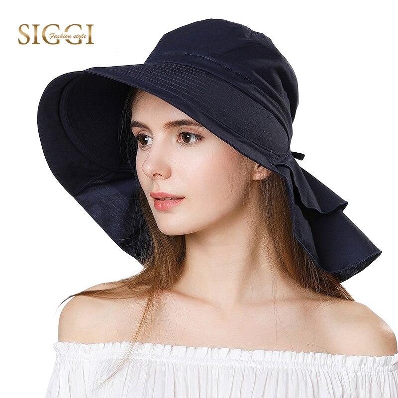 SIGGI Plage Chapeaux de Soleil Femmes Queue de Cheval Compressible Pliable Large Bord Chapeau Femelle Fille Coton Zonneklep Caps UPF50 + UV Gorras 69085