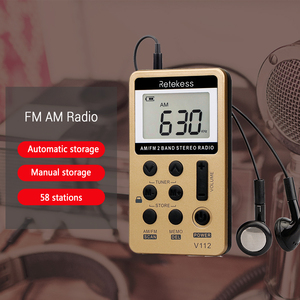Image 3 - Портативный мини радиоприемник RETEKESS V112, FM AM, 2 диапазона, цифровой карманный радиоприемник, наушники, динамик для Walkman go hiking