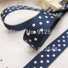 Wholesale 20yards 3/8″ 10mm Dark blue Polka Dots Grosgrain Ribbon -Free Shipping,yd10012