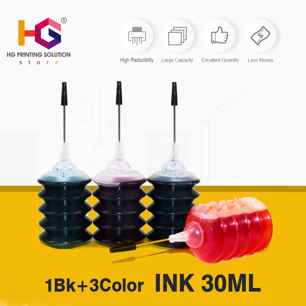 30ml Black Color 4pcs Universal Refill Dye Ink Kit Compatible For Epson For Brother Printer for 56 <font><b>901</b></font> replace for 4500 J4580 image