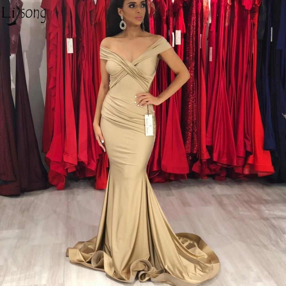 Sexy Off Shoulder Champagne Mermaid   Prom     Dresses   Simple Cheap Pleats Long Formal   Dress   Evening Party Gowns Vestidos de fiesta