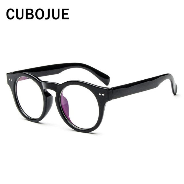 121e02515e4 Cubojue Vintage Round Glasses Men Women Retro Circle Female Grade Points  Optical Clear Lens Eyeglass Black brown flower Eyewear