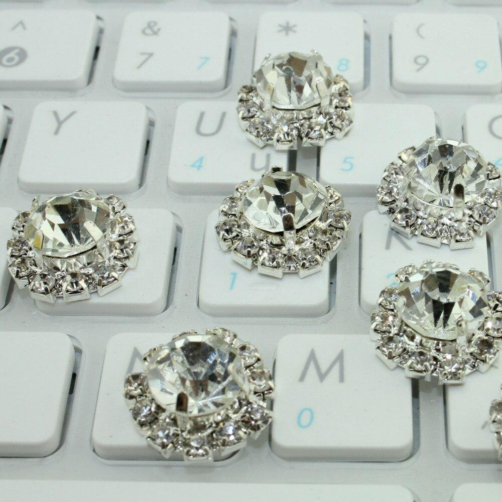 Hair bow button accessories - 100pcs 18mm Silver Plated Rhinestone Button Wedding Bow Diy Hair Accessories Silver Metal Button Factory