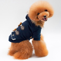 2017 New Design Pet Clothes Coat Thick Warm Horns Buckle Cotton Clothing Thick Fur Neck Dog