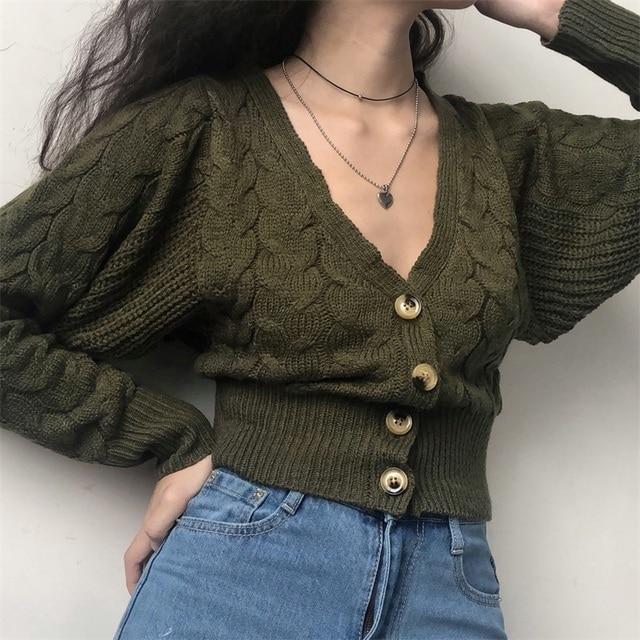 f4ef5ce92da Vintage Deep V-neck Knit Cardigan High Waist Short Dark Green Lantern  Sleeve Sweater Jacket