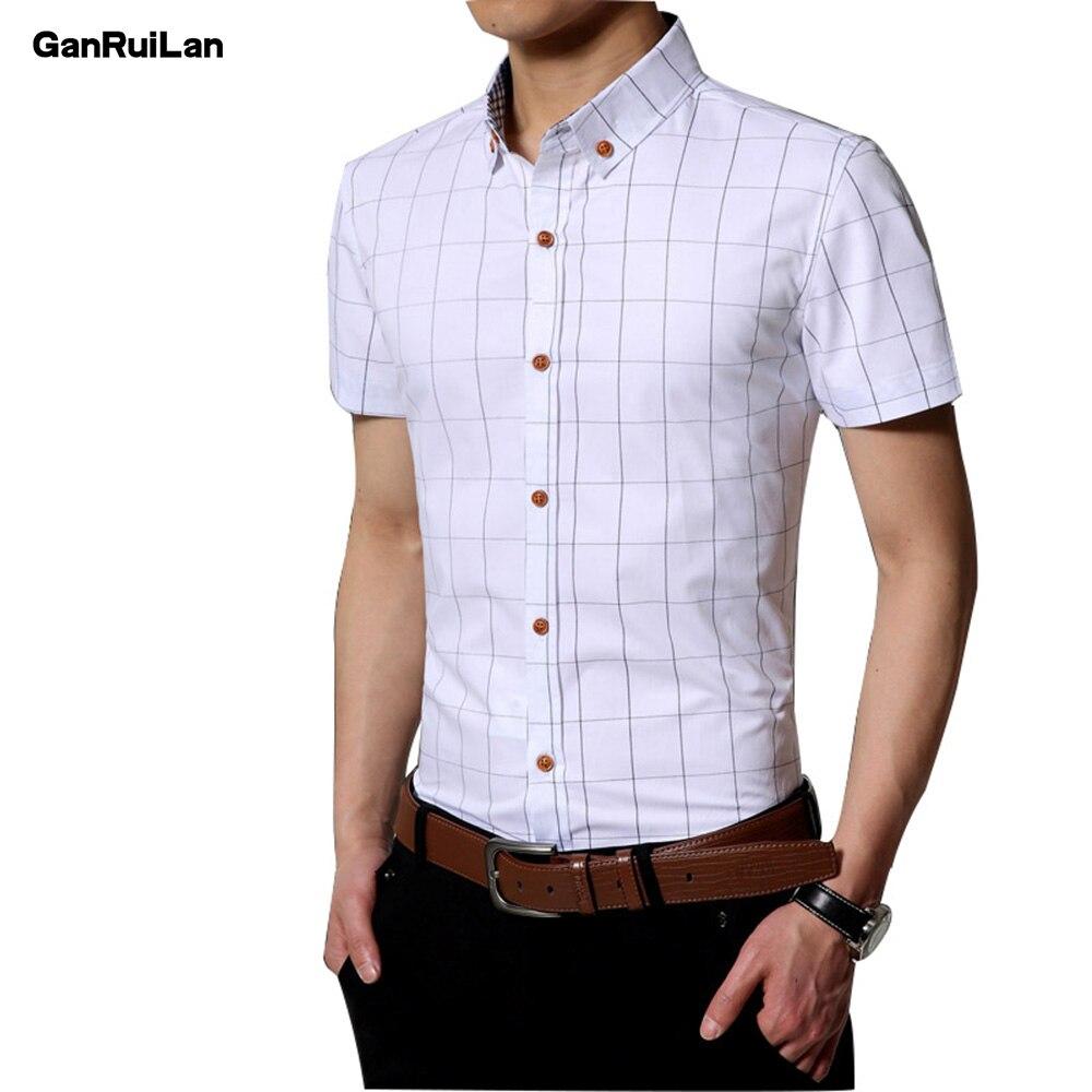 2018 New Autumn Fashion Brand Men Clothes Slim Fit Men Short Sleeve Shirt Men Plaid Cotton Casual Men Shirt Social Plus CY18007