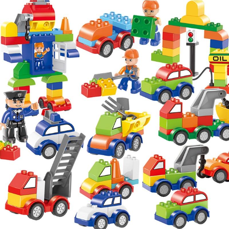 Kids Toys City Street Car Police Traffic Light Truck Building Blocks Bricks Educational Toys Children Gift Christmas