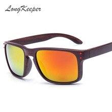LongKeeper Vintage Wood Grain Sunglasses Men Reflective Square Eyewear font b Gafas b font font b