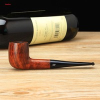 NewBee Two Different Colors Briar Wood Smoking Pipe 9mm Activated Carbon Filters Acrylic Straight Mouthpiece Tobacco