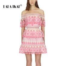 ed55c483e9 LALA IKAI 2018 Brand Patchwork Summer Women Dresses Sexy Off Shoulder 3D  Floral Vestido Vintage Lace Party Mini Dress SWC2060-47
