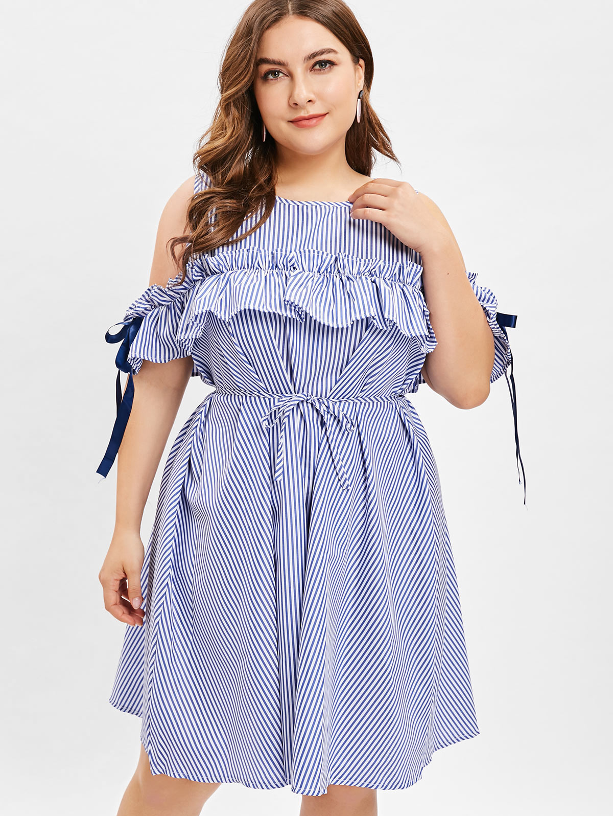 US $12.84 50% OFF|Retro Plus Size Cold Shoulder Stripe Ruffled Women Dress  Summer Ribbon Lace Up Casual Knee Length Elegant Women Dress Robe-in ...