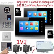 8GB TF Card Video Recording Intercom With A Camera Fingerprint Keypad Video DoorPhone IP65 Waterproof Doorphone For 2 Apartments