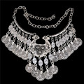 SHUANGR Fashion choker Statement Bohemian tassel necklace/earring/bracelet Vintage Carved Coin gypsy ethnic Silver Women Jewelry