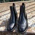 Mulheres Botas 2016 Genuínos Ankle Boots de Couro Marca de Designer de Sapatos Da Moda Mulher Deslizamento Em Botas de Inverno Outono Plus Size