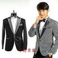 M-xxxl! 2016 vestido Formal para hombre traje de plata de color negro bling de hombre juego de la ropa etapa de la chaqueta singe el host trajes