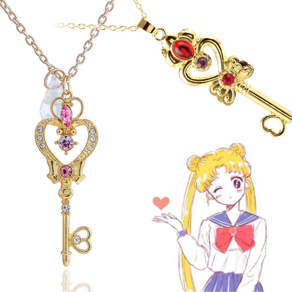 Sailor Moon necklace Pendant Time Space Key Costumes Accessories Cosplay Prop torque Anime Toy